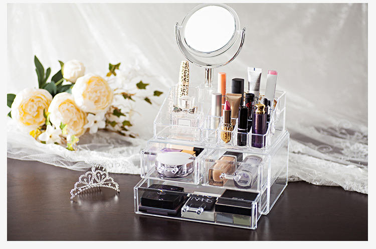 QiaoFeng Plastic Drawer Storage Acrylic Cosmetic Makeup Organizer With Mirror
