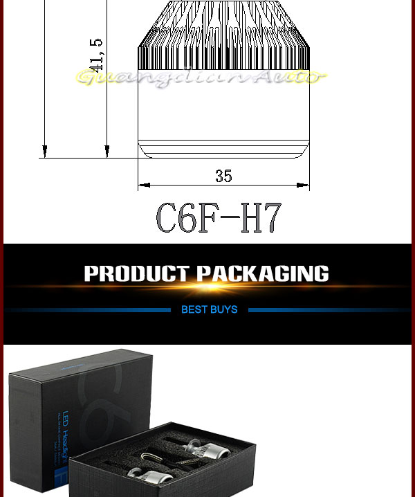 Latest headlight !!! Guangdian C6F-H7 36W Phis chip LED headlights high power h7 led headlight bulb for cars !