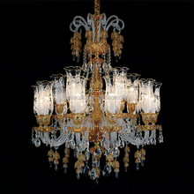 MD88037-10+5 Yellow Glass Chandelier Lighting for Hotel