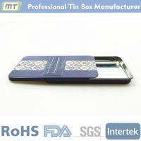 colorful print small tin drug packaging box with slide lid