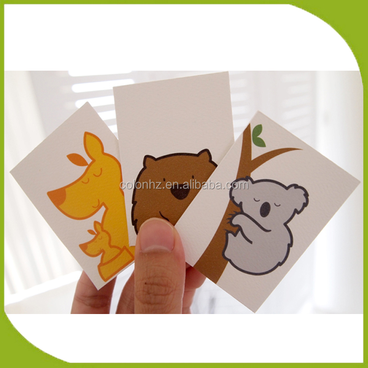 Educational animal picture flashcards for kids custom printing service