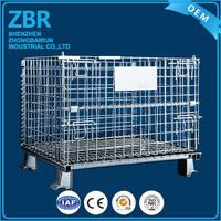 Safety lock mesh folding cage pallet storage cages with 4 wheels