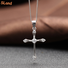 Online wholesale Womens dainty necklace charm 925 Sterling Silver Celtic Cross Pendant inlaid shiny diamond-cut crystal/cz stone