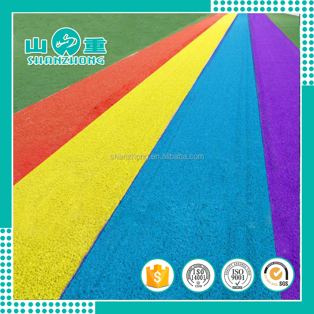 Hot sale rubber running track/colorful artificial grass running track playground