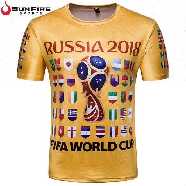 2018 Russia football world cup soccer fans unisex sublimation t shirt
