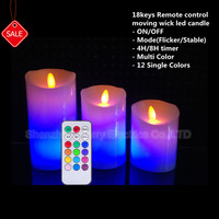 hot selling Set of 3 Flameless LED Candle wax with Moving Flame Wick