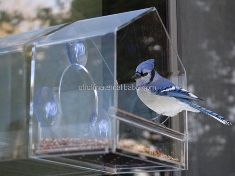 hot selling wall mounted clear custom acrylic window bird house/feeder