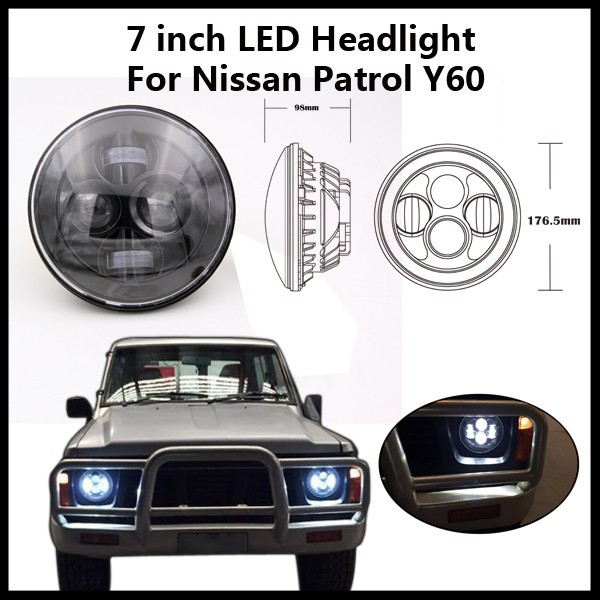 "7"" round led headlight Hi and low beam for Jeep wrangler JK/ For Nissan Patrol"
