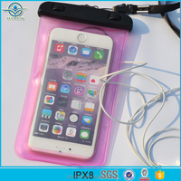 China Supplier Wholesale Fashion Design PVC Waterproof Swimming Phone Bag With Earphone Hole