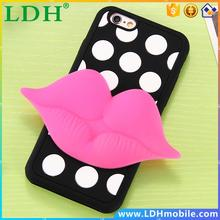 Cartoon 3D Case for iPhone 6 /6S for iPhone 6 /6S /Plus Soft Silicon Lips Smile Flower Cover Elegant Cute Stylish Phone Covers