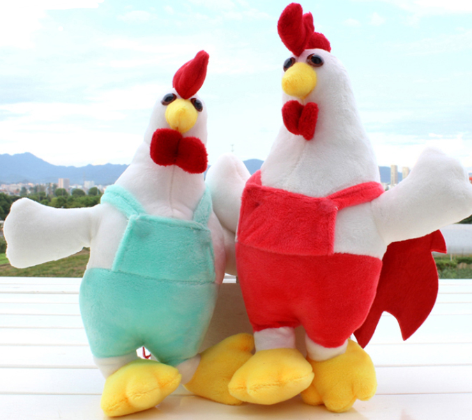 Chinese New Year Squeaky Soft Cock Yellow Stuffed Rooster Plush Chicken Toy
