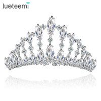 LUOTEEMI Wholesale Latest Design Bridal Jewelry Silver Gorgeous Charming CZ Crystal Priness Pageant Crowns Tiara For Weddings