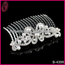 Fashion rhinestone pearl butterfly hair comb for thick hair