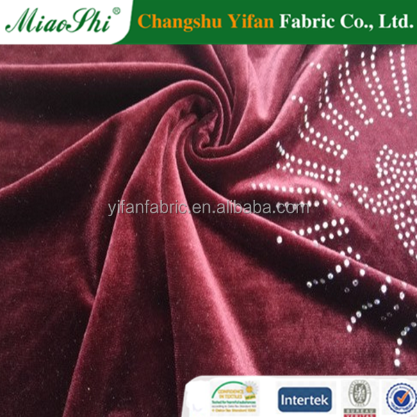2017 China high-quality Spandex crushed velvet fabric with stone