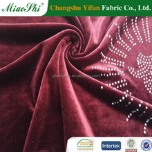 2017 China high-quality Spandex crushed velvet fabric with stone low price