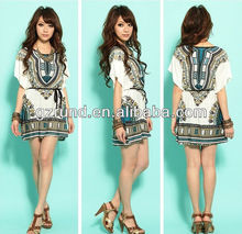 2014 New Fashion Spring Summer Women Dress Loose National Style Vintage Totem Batwing Sleeve Ice Cotton Plus Size