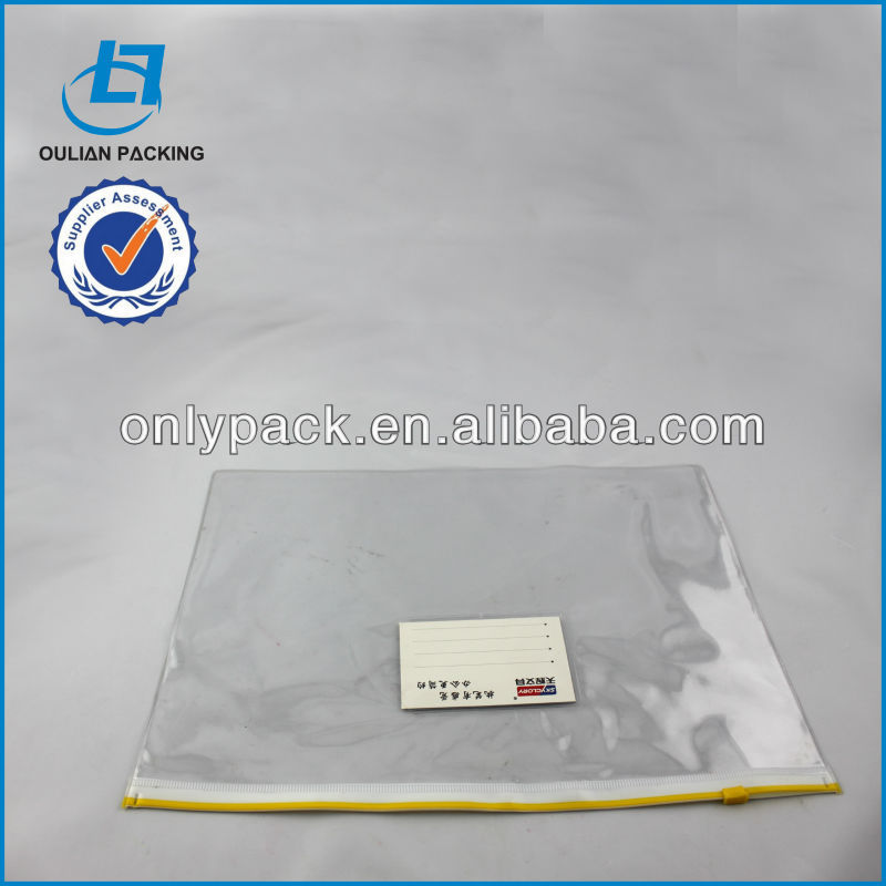 Clear plastic pvc file zipper bag with card pocket