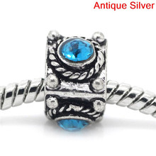 European Charm Beads Triangular Prism Antique Silver Blue Rhinestone 11.5x11mm,Hole:Approx:5mm,20PCs