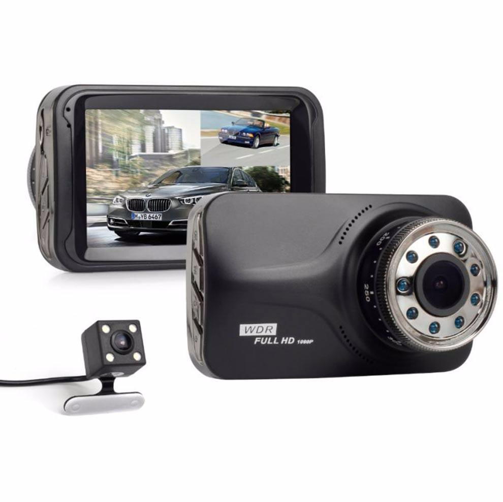170 degrés angle de vue 3 pouces Night Vision 2 canaux Voiture DVR Dashcam