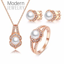 2017 Sterling Silver Jewelry Simple Pearl Jewellery Sets