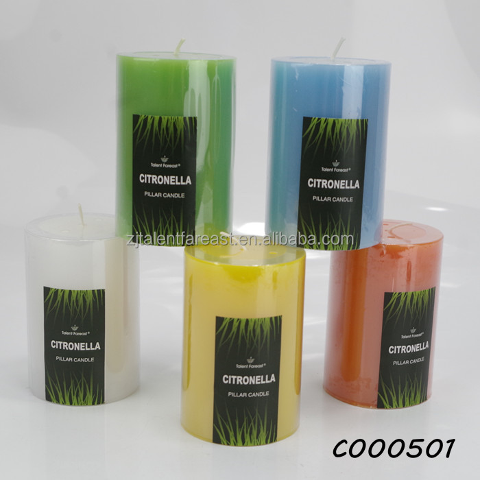 Pillar flat top candle, citronellyl oil anti mosquito candle with different color optioned
