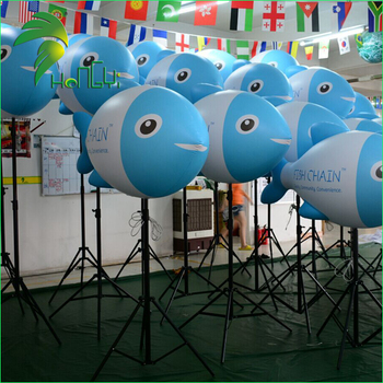 Customized PVC LED Lighting Inflatable Standing Fish, Led Inflatable Ballloon For Display