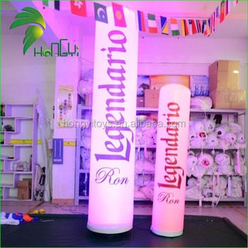 Outdoor Advertising Led Light Inflatable Column , Lighting Inflatable Lamp Pole For Display