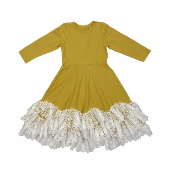 Wholesale high quality long sleeve fairy princess dress hem lace party skirt