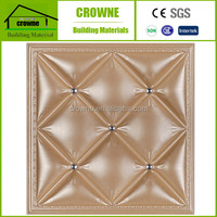 2016 new design Embossed 3D effect leather wall panel Inside Decorating Wood Tile Imitation Faux Leather 3d Wall Panel