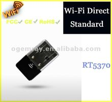 WiFi Direct Standard Nano Wi-Fi USB Dongle with 5370 Chipset