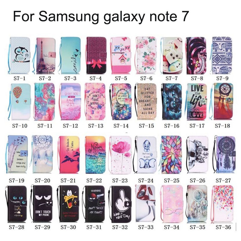Colorful Owl Smile Black For Samsung Galaxy Note 7 Pu Wallet Case Flip Cover Hot 36 Patterns