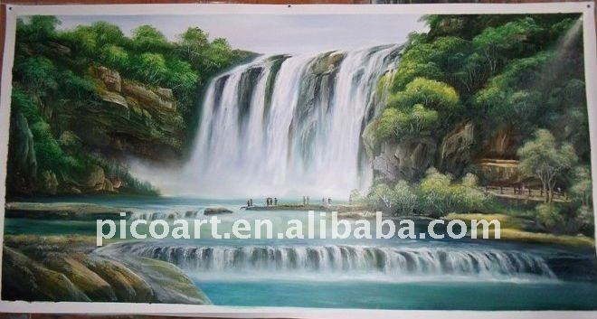 Modern indoor waterfall landscape oil painting