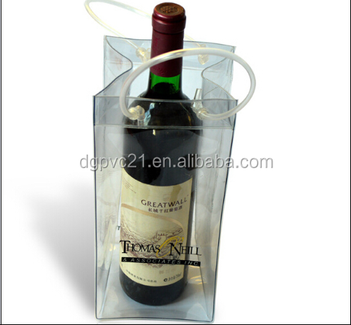 Wholesale top quality transparent clear PVC ice bag/PVC cooler bag /PVC wine ice bag