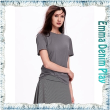 2016 New Simple Designs Plain Style Best Quality Ladies Round Neck Grey Soft Cotton T-Shirt