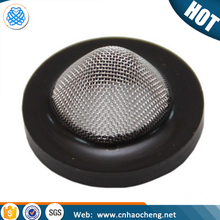Stainless steel hose washer filter with rubber wrapped edge