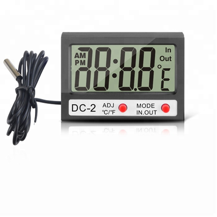 Electronic New Thermostat Tester Indoor Outdoor Mini LCD Digital Thermometer <strong>Temperature</strong> Meter DC-2 Clock w/ Probe