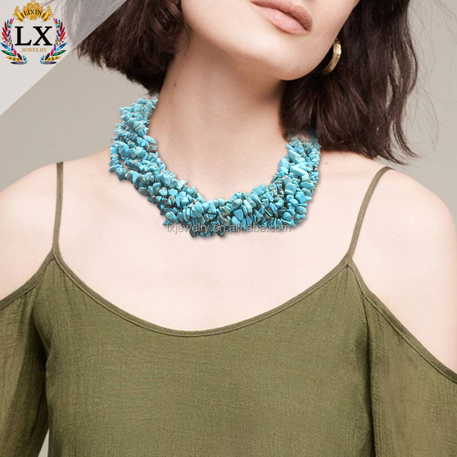 NLX-00987 New design natural stone turquoise necklace turquoise beaded multi layer bead necklace with magnetic clasp