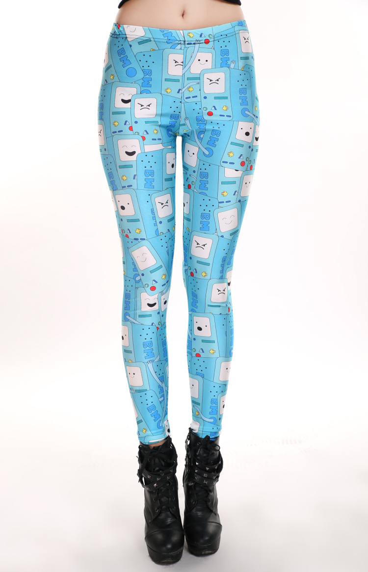 SM3111 Cartoon Face High Quality Digital Printing Leggings Fresh Summer 2014 New Square Robot Leggings Stock