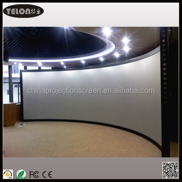luxury rear fixed curved frame screen,PVC projection screen,3D silver material