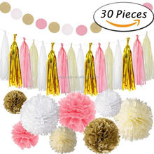 30pcs Pink Gold White Party Decoration Set Supplies Party Tissue Tassel Paper Pom Poms Garland Banner