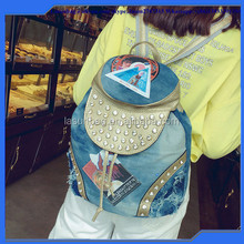 Hot Sale Fashionble Girls Vintage Color Cartoon Printing Waxed Canvas School Backpack