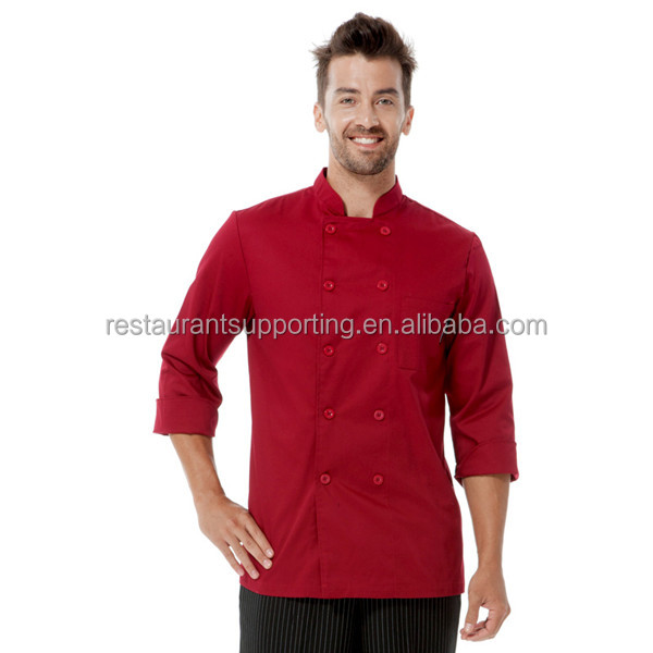 2016 Hot Sell Polyester and Cotton Black/ White/ Wine Red Chef Kitchen Uniform