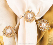 Wholesale Tablescape Bling Rhinestone Wedding Pearl Napkin Ring