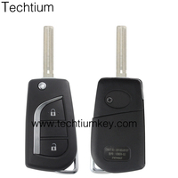 Good price new car key blanks replacement 2 button flip key shell with logo and folding blade for Toyota