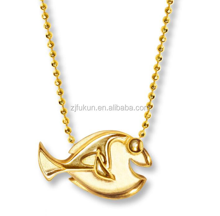 2017 14K Yellow Gold Kids Design Fish Jewelry Necklace