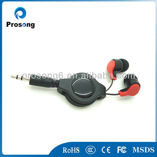 Hot sales colorful retractable stereo earphone for mp3/mobile