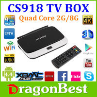 Dragonbest 2016 Rockchip Quad Core Android 4.4 Smart Tv Box Cs918 Media Player 1080P Wifi