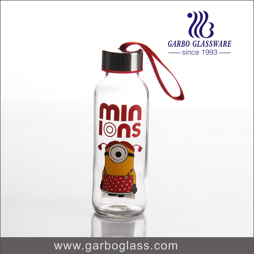 decal glass sports bottle with carrying loop
