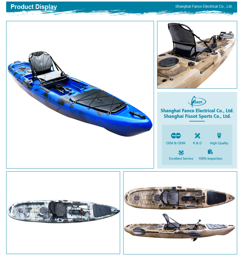 Trade assurance supplier supplied foot drive fishing plastic pedal kayak for sale