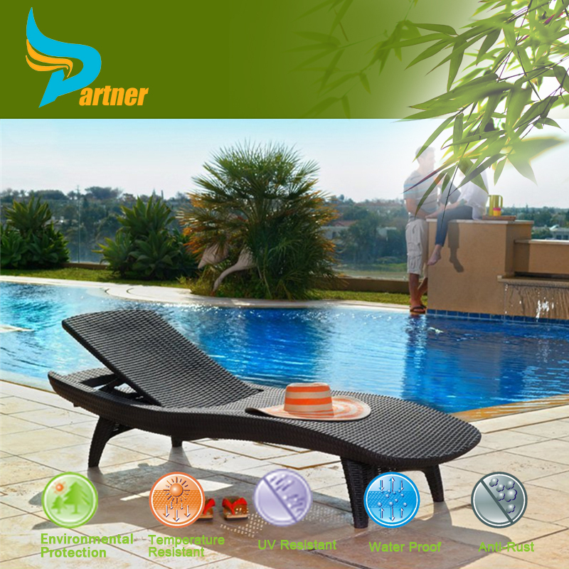 Partner Elegant Swimming Pool Rattan/Wicker Sun Lounge Portable Beach Bed